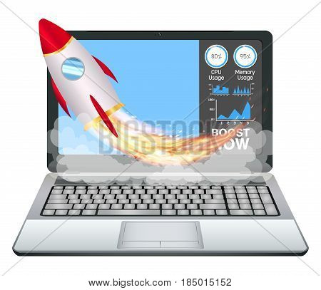 laptop with speed acceleration boost toy rocket