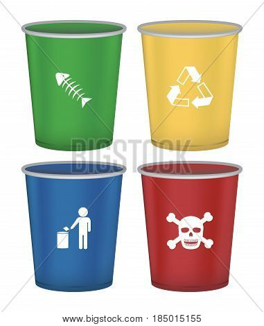 set of food bin recycle bin general bin and danger bin