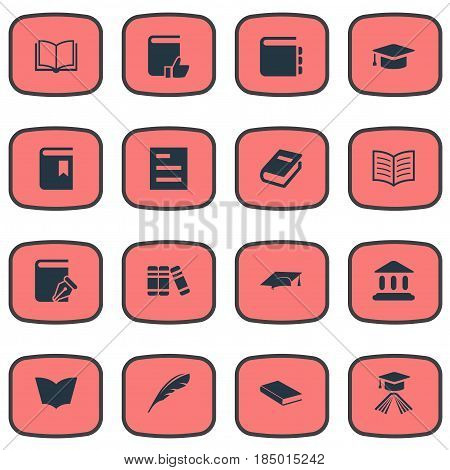 Vector Illustration Set Of Simple Knowledge Icons. Elements Bookshelf, Book Cover, Academic Cap And Other Synonyms Literature, Plume And Write.