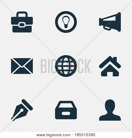 Vector Illustration Set Of Simple Business Icons. Elements Megaphone, Suitcase, Nib And Other Synonyms Sign, Megaphone And Pen.