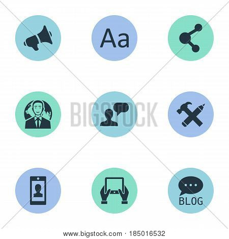 Vector Illustration Set Of Simple User Icons. Elements Notepad, Share, Loudspeaker And Other Synonyms International, Considering And Relation.