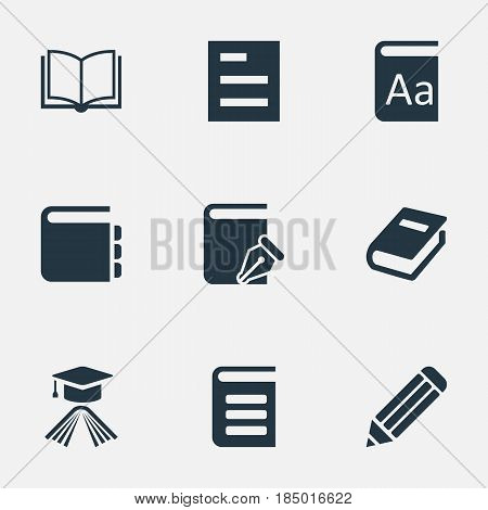 Vector Illustration Set Of Simple Knowledge Icons. Elements Encyclopedia, Tasklist, Journal And Other Synonyms Blank, Alphabet And Notepad.