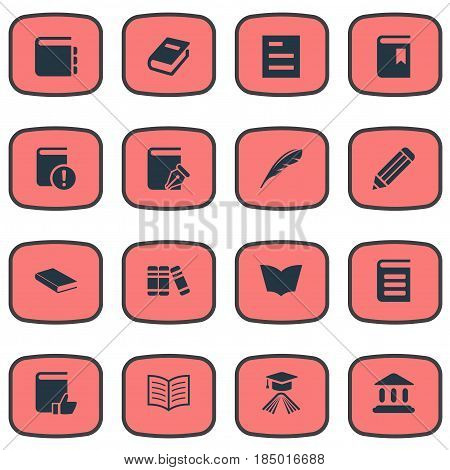 Vector Illustration Set Of Simple Education Icons. Elements Sketchbook, Encyclopedia, Important Reading And Other Synonyms Write, Bookmark And Sketchbook.