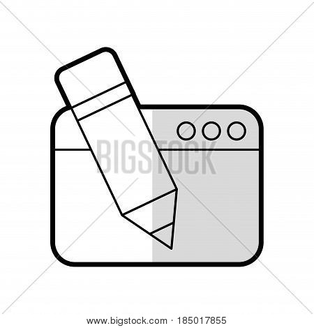 webpage with pencil isolated icon vector illustration design