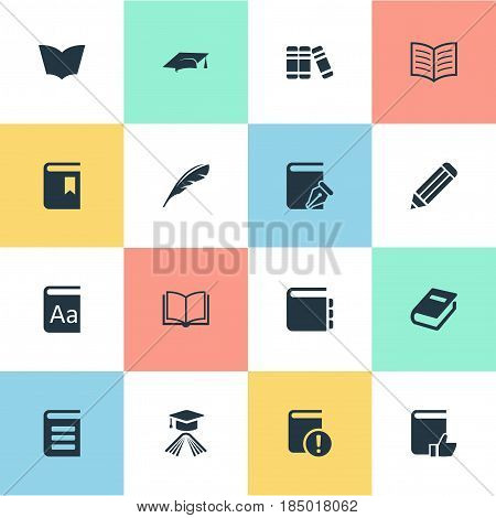 Vector Illustration Set Of Simple Books Icons. Elements Alphabet, Plume, Journal And Other Synonyms Sketchbook, Notebook And Hat.
