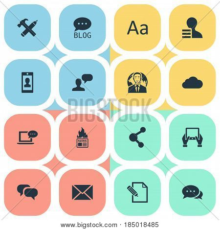 Vector Illustration Set Of Simple Blogging Icons. Elements Man Considering, Repair, Gain And Other Synonyms Writing, Epistle And Pencil.