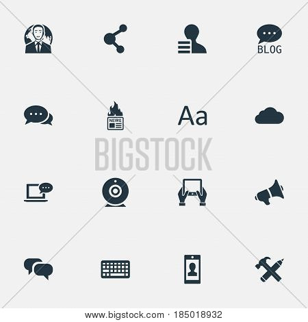 Vector Illustration Set Of Simple Newspaper Icons. Elements Gazette, Gain, Loudspeaker And Other Synonyms Smartphone, Earnings And Web.