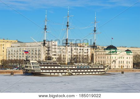 SAINT-PETERSBURG, RUSSIA - JANUARY 20, 2017: Frigate