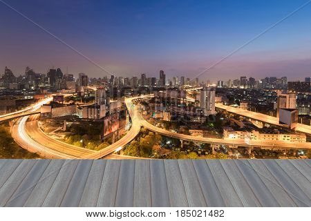 Twilight city express way with twilight sky background Bangkok Thailand