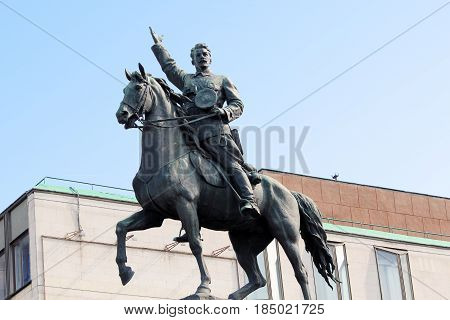 KIEV, UKRAINE - MAY 2, 2011: This is a monument to the military commander of the times of the Civil War Nikolai Shchors.