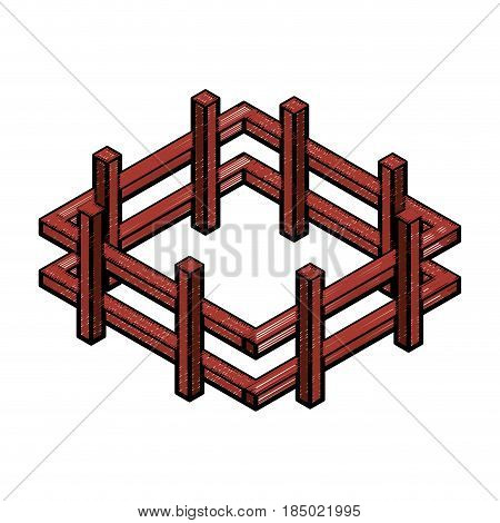 farm fence isometric icon vector illustration design