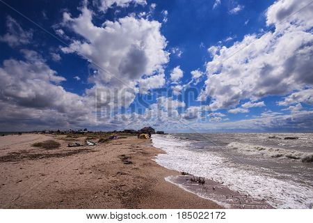 Windy day on the spit Dolgaya in the Azov Sea. Krasnodar Territory, the Russian Federation.