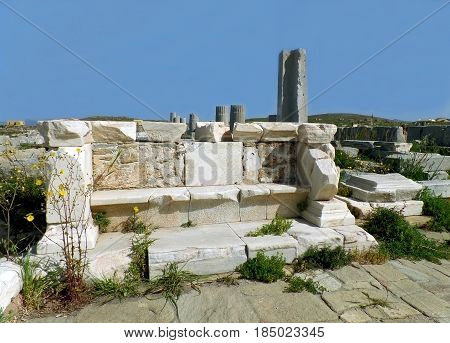 Archaeological Site of Delos, Impressive UNESCO World Heritage Site on Delos Island, Mykonos, Greece