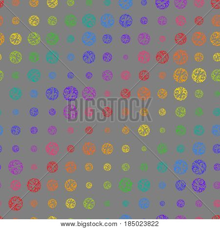 Creative Seamless Pattern of Colorful Circles of Different Size on Grey Backdrop. Rainbow Background Continuous Design in Peas for Cloth Pack Paper Wrapping Paper.
