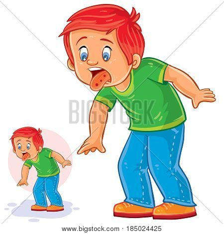 Vector illustration of a little boy with a rash on the tongue, allergy, stomatitis, herpes. Print