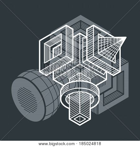 Engineering Abstract Shape, 3D Vector Polygonal Figure.