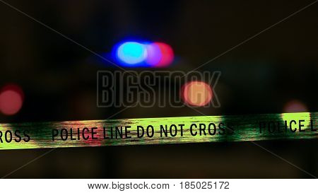 Police Car Siren With Boundary Tape, Defocused