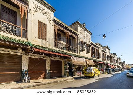 FEZ, MOROCCO - APRIL 6,2017 - Buildings at the street of Mellah - Jewish quarter of Fez. Fez city has been called the