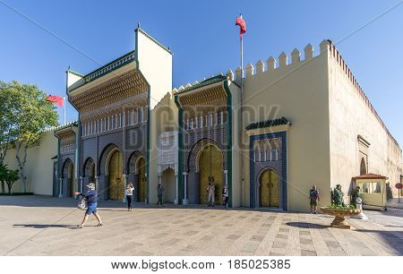 FEZ ,MOROCCO - APRIL 6,2017 - View at the Royal palace in Fez. Fez city has been called the