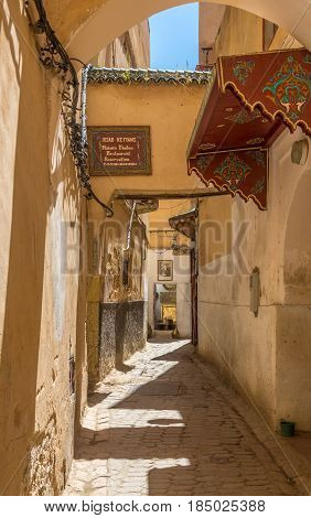 FEZ ,MOROCCO - APRIL 6,2017 - In the streets of old medina in Fez. Fez city has been called the