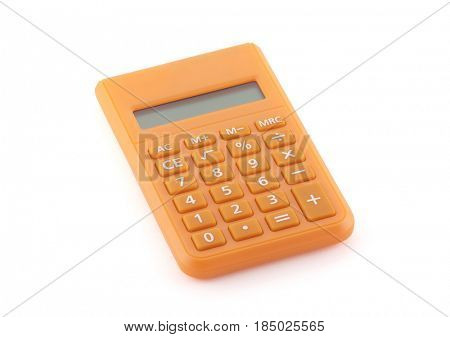 Orange calculator isolated on white with clipping path