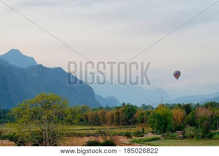 Hotair balloon on the sky at Vang vieng, Laos