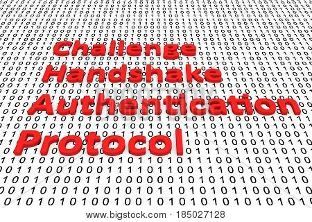 Challenge handshake authentication protocol in the form of binary code, 3D illustration