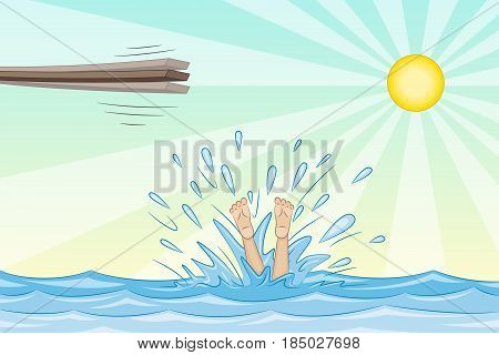 Jump from a springboard into the water