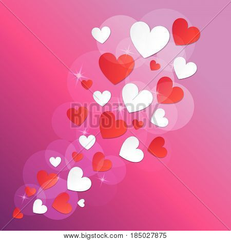 Hearts red and white a vector on a pink background