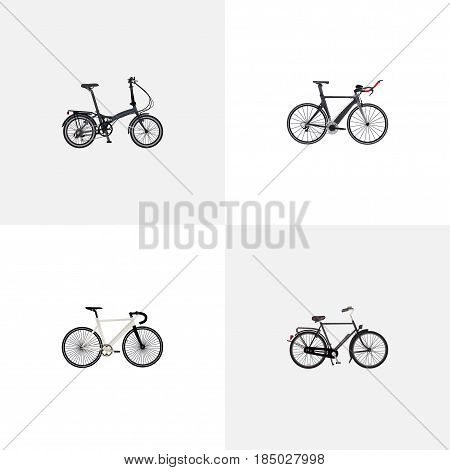 Realistic Competition Bicycle, Road Velocity, Training Vehicle And Other Vector Elements. Set Of Bike Realistic Symbols Also Includes Dutch, Bike, Bicycle Objects.