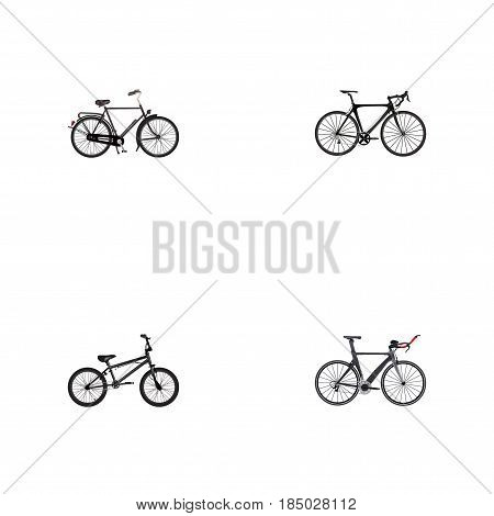 Realistic Extreme Biking, Training Vehicle, Exercise Riding And Other Vector Elements. Set Of Sport Realistic Symbols Also Includes Velocipede, Road, Triathlon Objects.