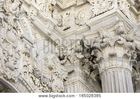 ISTANBUL, TURKEY-APRIL 2, 2017: Detail of the Dolmabahce Palace in Istanbul, Turkey.