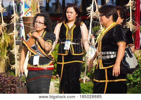 Penampang,Sabah-May 30,2016:Kadazandusun woman of Sabah in traditional costume during Kaamatan festival.Also known as Harvest festival,its a major yearly event for the Kadazandusun in Sabah,Borneo.