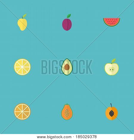 Flat Melon Slice, Lime, Citrus And Other Vector Elements. Set Of Berry Flat Symbols Also Includes Slice, Pear, Melon Objects.