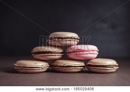 Pyramid Of Chocolate Pastel Brown Macarons Or Macaroons