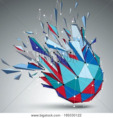 3d vector low poly object with connected black and white lines and dots colorful geometric wireframe shape with refractions. Asymmetric perspective shattered form.
