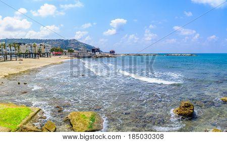 Beach Scene In Bat Galim Neighborhood, Haifa