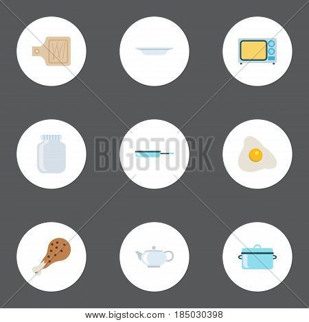 Flat Casserole, Omelette, Glass Container And Other Vector Elements. Set Of Cooking Flat Symbols Also Includes Skillet, Dish, Dishware Objects.