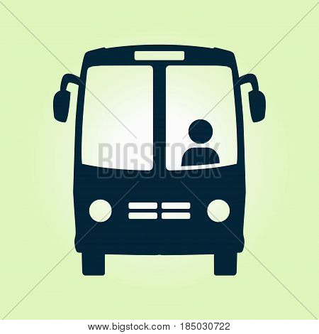 Bus icon. Schoolbus symbol. International tourist traffic. Comfortable vehicles.