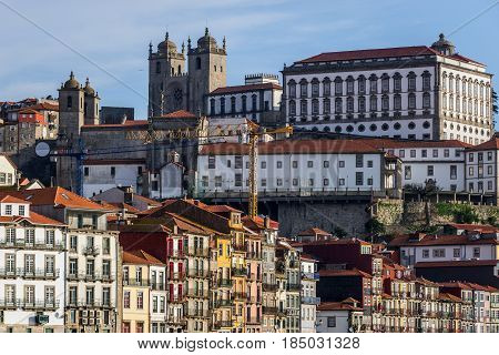 Bishop's Palace next and Se Cathedral in Porto Portugal
