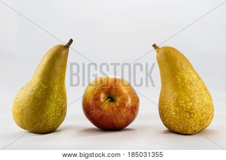 Delicious, Delicious Ripe Apples And Pears On A White Background