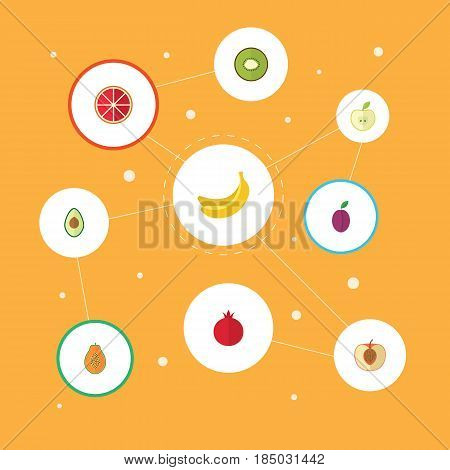 Flat Peach, Jonagold, Exotic Dessert And Other Vector Elements. Set Of Berry Flat Symbols Also Includes Pear, Orange, Nectarine Objects.