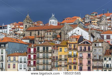 Tenement houses in Ribeira district of Porto Portugal