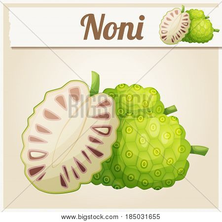 Noni fruit illustration. Cartoon vector icon. Series of food and ingredients for cooking.