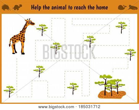 Cartoon illustration of education. Matching game for preschoolers to hold a wild animal giraffe home to sovanna. All pictures are isolated on white background. Vector illustration