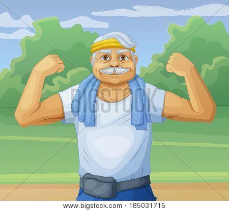 Senior man doing sport morning exercises in the park. Cartoon vector illustration