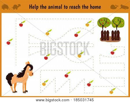 Cartoon illustration of education. Matching game for preschool kids trace the path of the horse to the farm and collect the path of all the apples. Education and games. Learn handwriting.