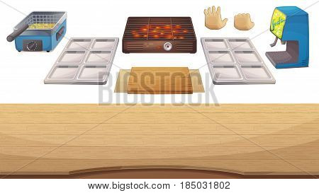 Utensils for cooking game: wooden table, grill, deep fryer, metallic holder, plate, soda dispenser, hands. Cartoon vector illustration