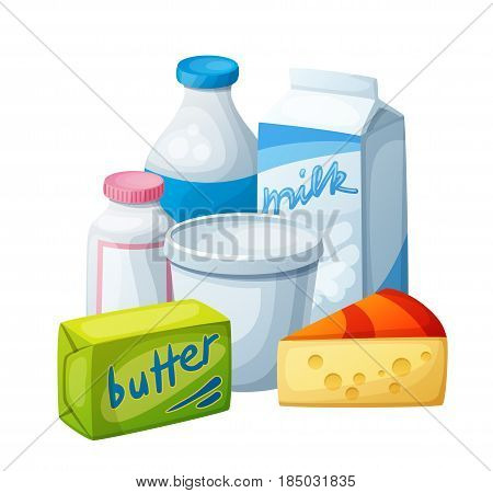 Dairy products, milk food. Cartoon vector illustration isolated on white background