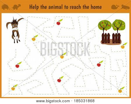 Cartoon illustration of education. Matching game for preschool kids trace the path of the donkey on the farm and on the way collect all the apples. Education and games. Learn handwriting.